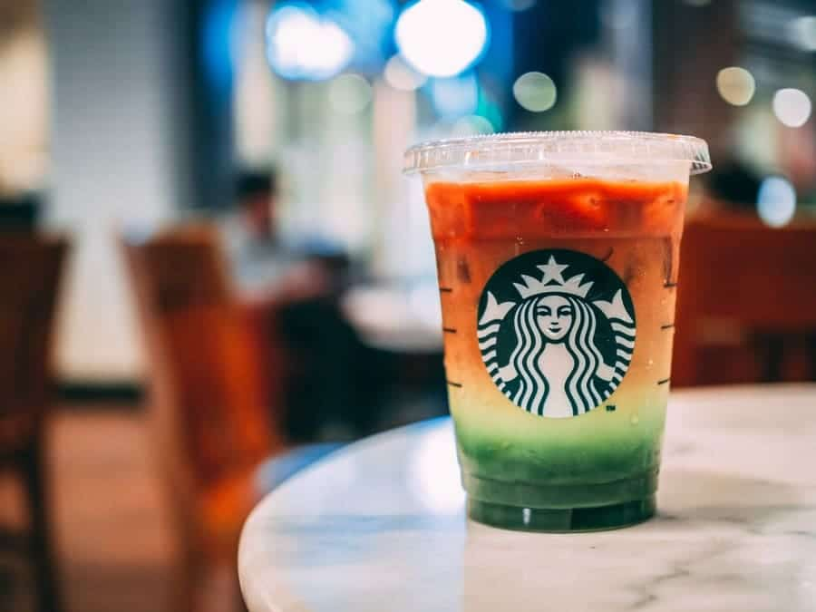 Starbucks Iced Espresso Matcha Fusion in Thailand with ice.