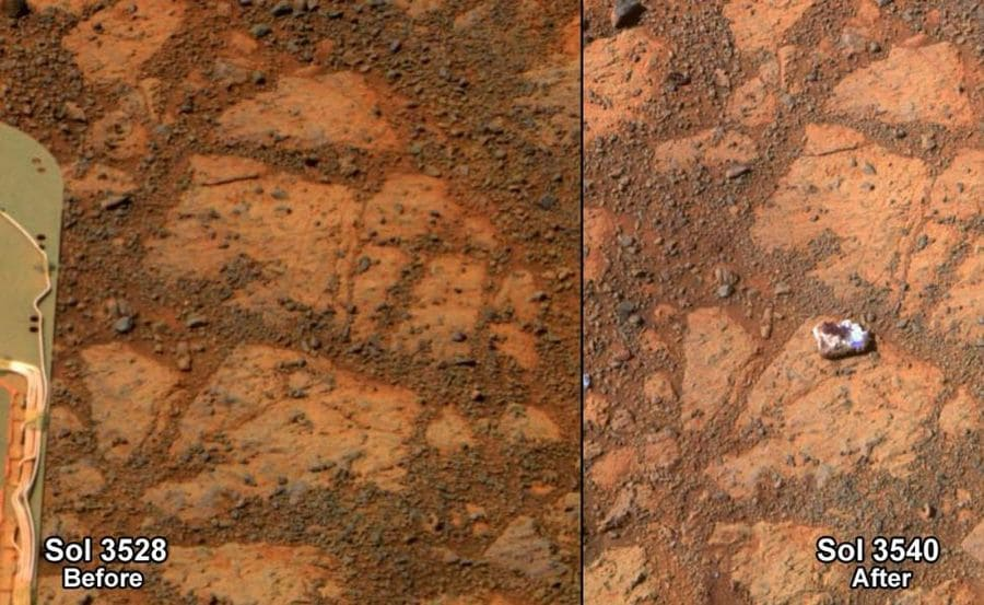 The before-and-after pictures of the same patch of ground in front of NASA's Mars Rover Opportunity.