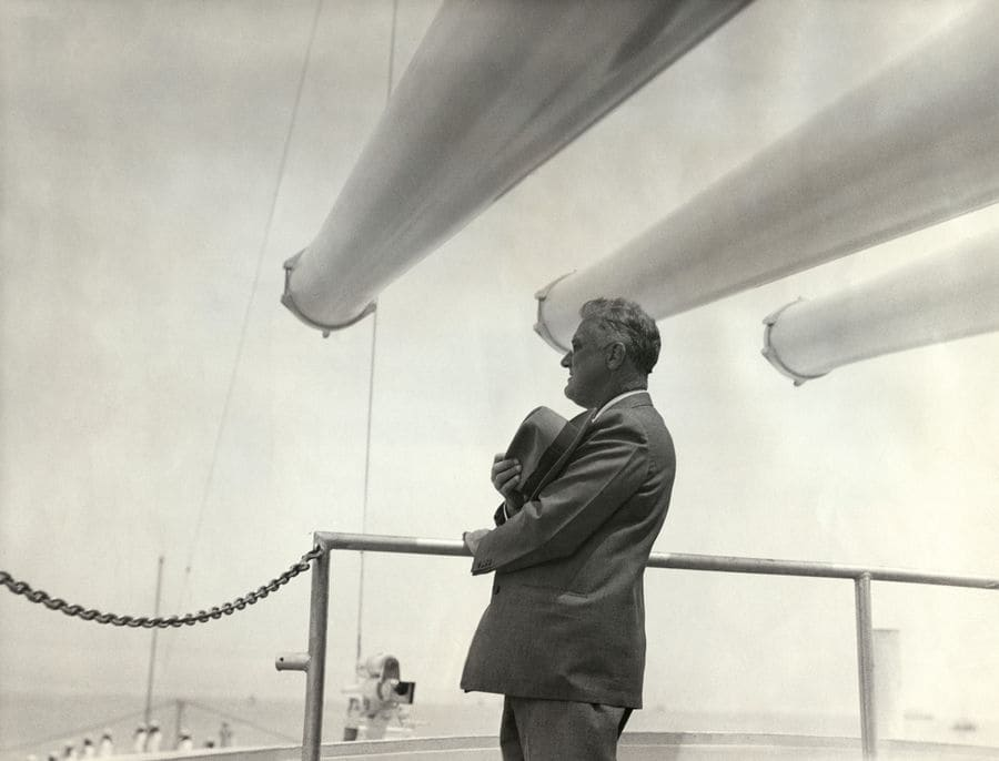 President Franklin Roosevelt on the deck of the USS Indianapolis, 1936.