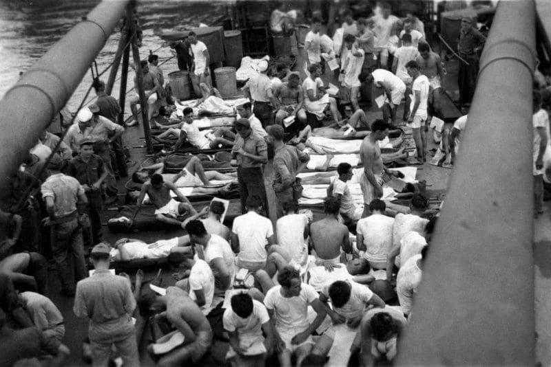 Survivors on the deck of the USS Bassett