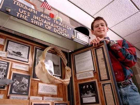 Hunter Scott poses in 1998 with his project that