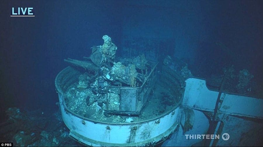 Shells that are still locked and loaded into the gun are visible on the sunken USS Indianapolis