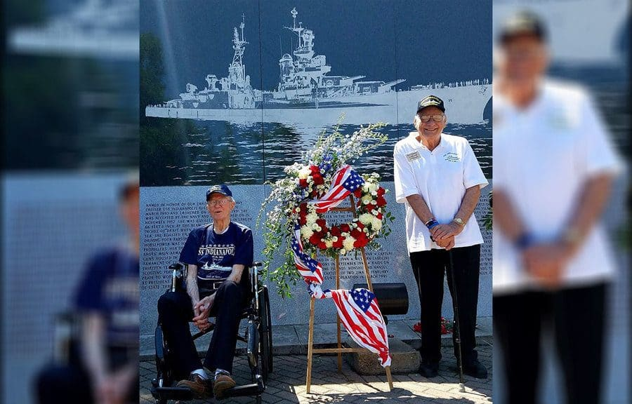Survivors Cleatus Lebow and Dick Thelen at the USS Indianapolis Monument
