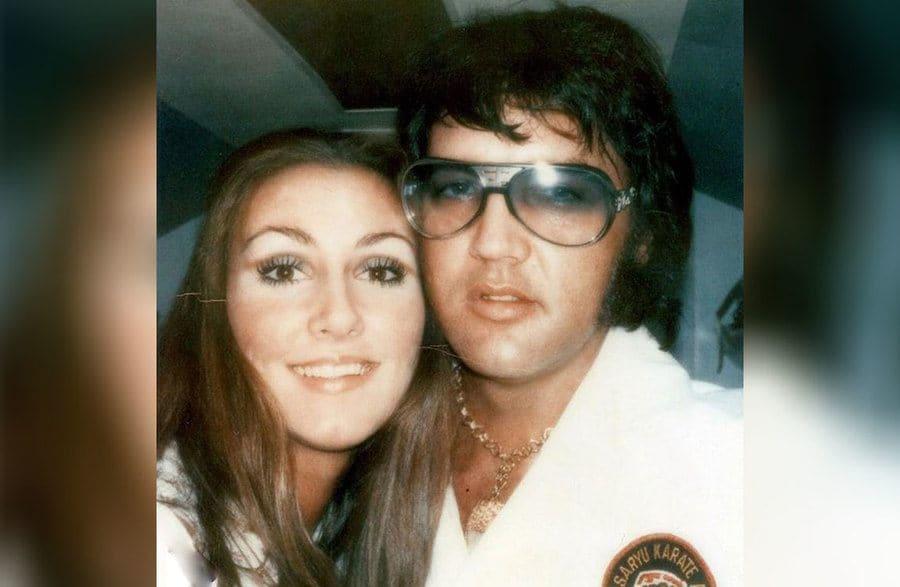 Elvis Presley with Linda Thompson close up
