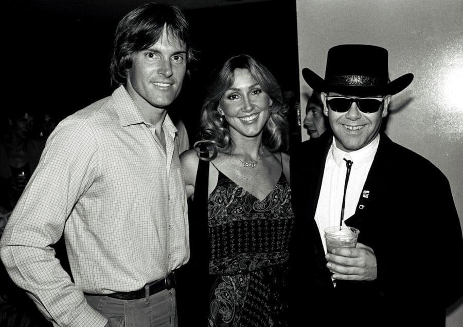 Bruce Jenner, wife Linda Thompson, and Elton John