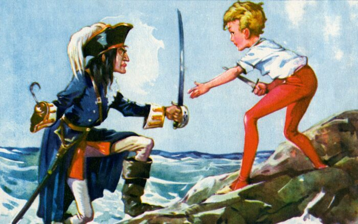 'Peter Pan and Wendy' 'Peter Pan and Wendy' by James Matthew Barrie. Captain Hook and Peter Pan fight.