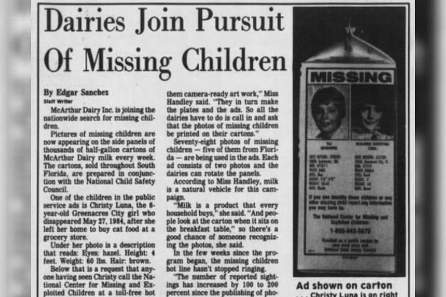Dairies join the pursuit of missing children