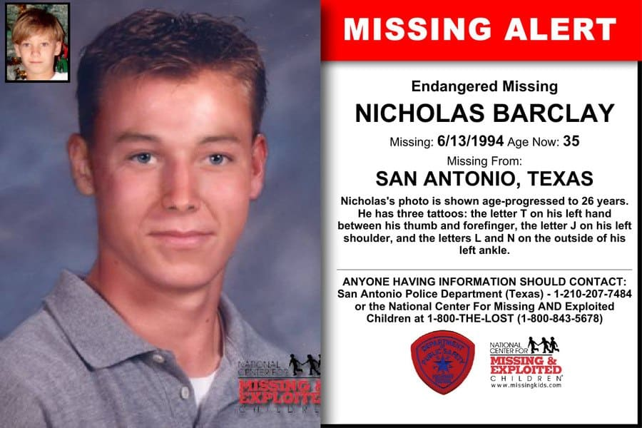 The Missing Alert poster for Nicholas Barclay with what he should look like now