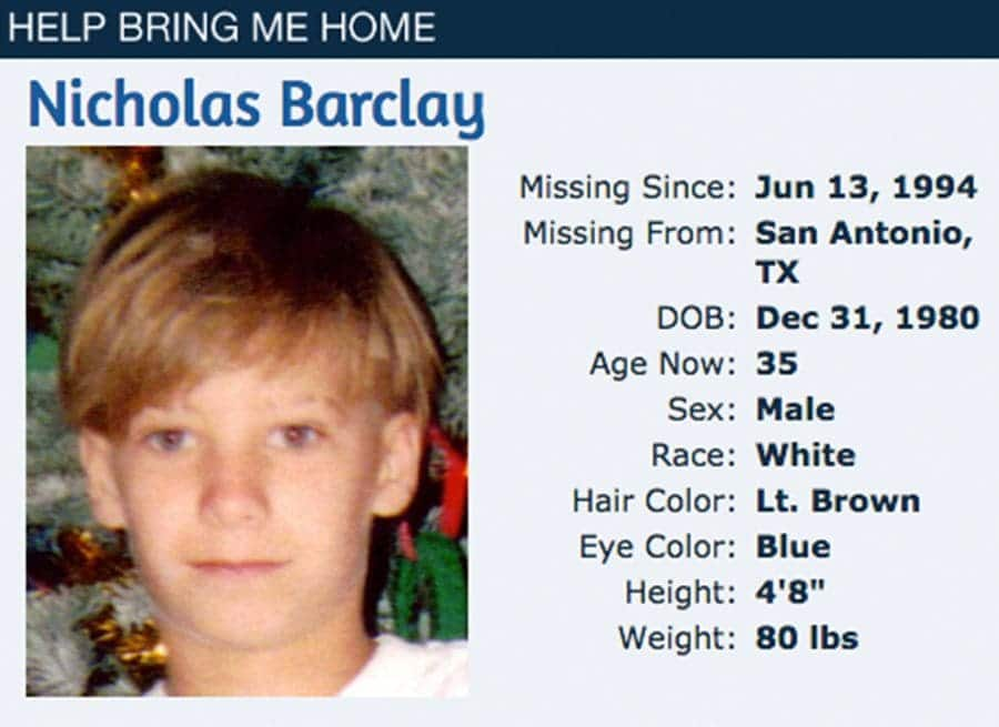 A missing child poster for Nicholas Barclay