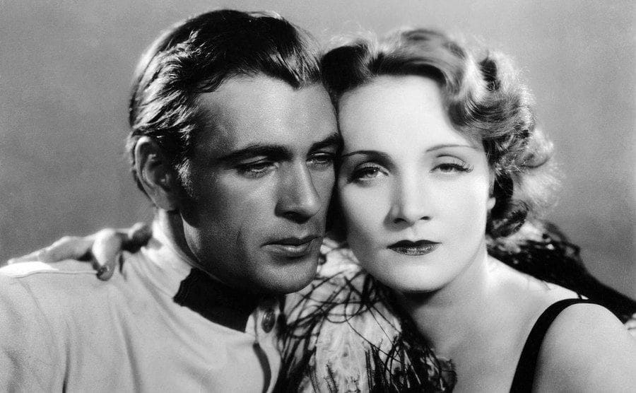 Marlene Dietrich and Gary Cooper in 'Morocco' 1930.