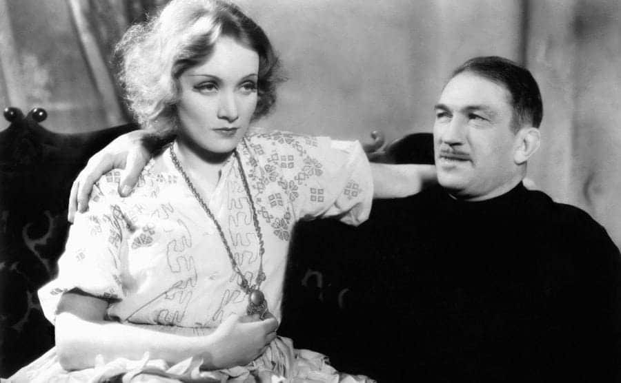 Marlene Dietrich and Victor McLaglen in 'Dishonored' 1931.