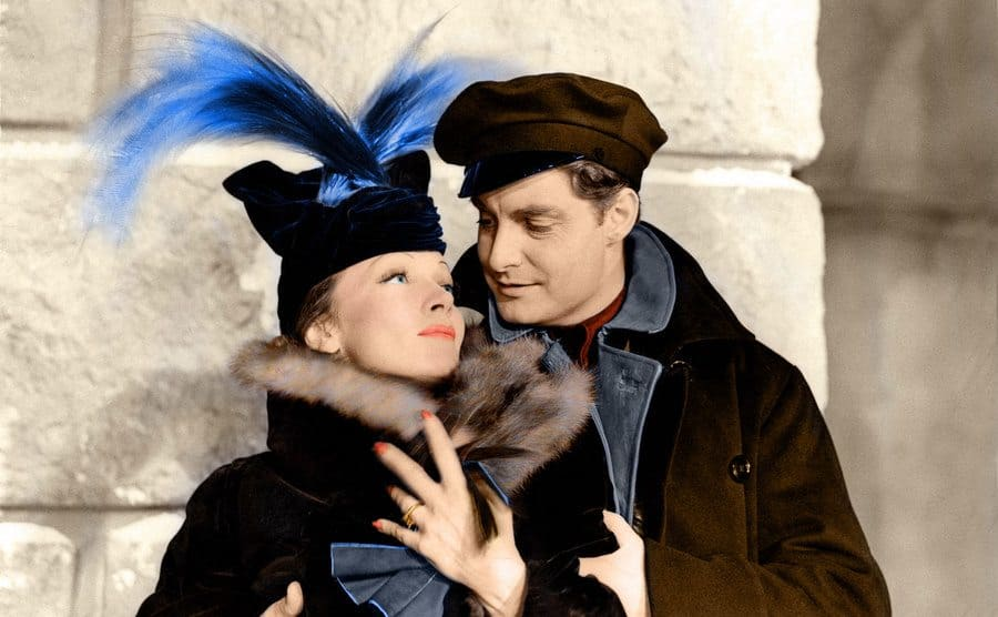 Marlene Dietrich with Robert Donat 'Knight Without Armour' 1937.
