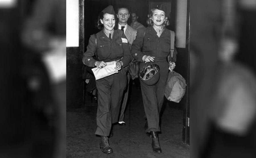 Lyn Mayberry, Rudolph Sieber, and Marlene Dietrich returning from a USO tour, 1945.