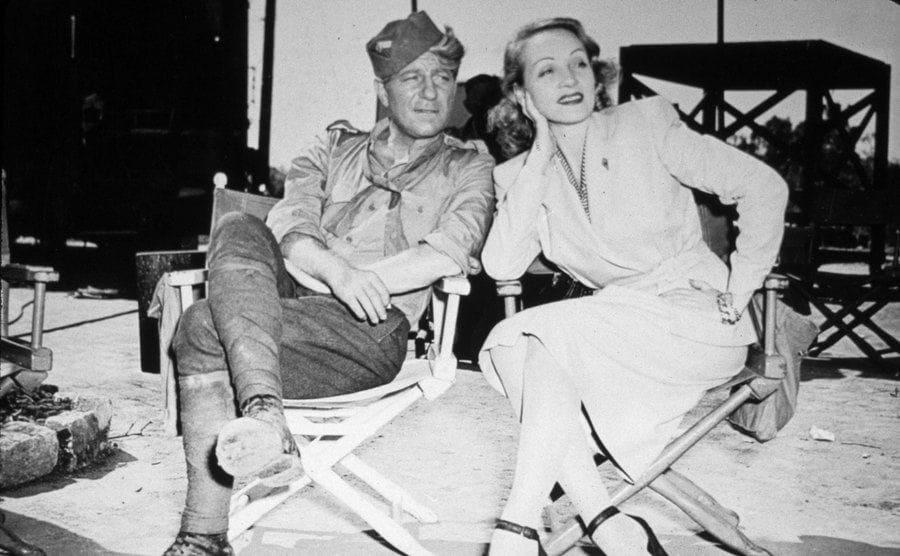 Marlene Dietrich and Jean Gabin in 1946.