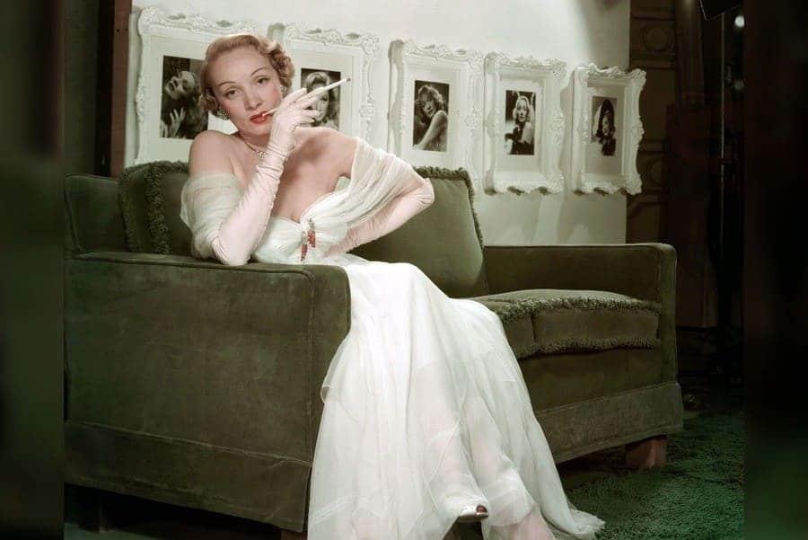 Marlene Dietrich posing to the camera.