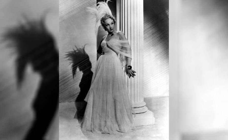 Marlene Dietrich wearing Christian Dior in 1950.