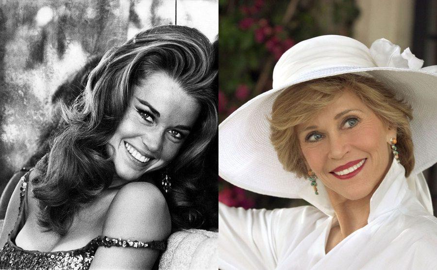 Jane Fonda in 1970. / Jane Fonda in 2004.