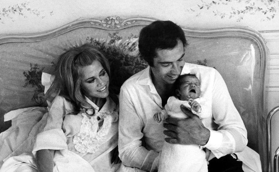 Jane Fonda, Roger Vadim, and their daughter Vanessa Vadim, 1968.