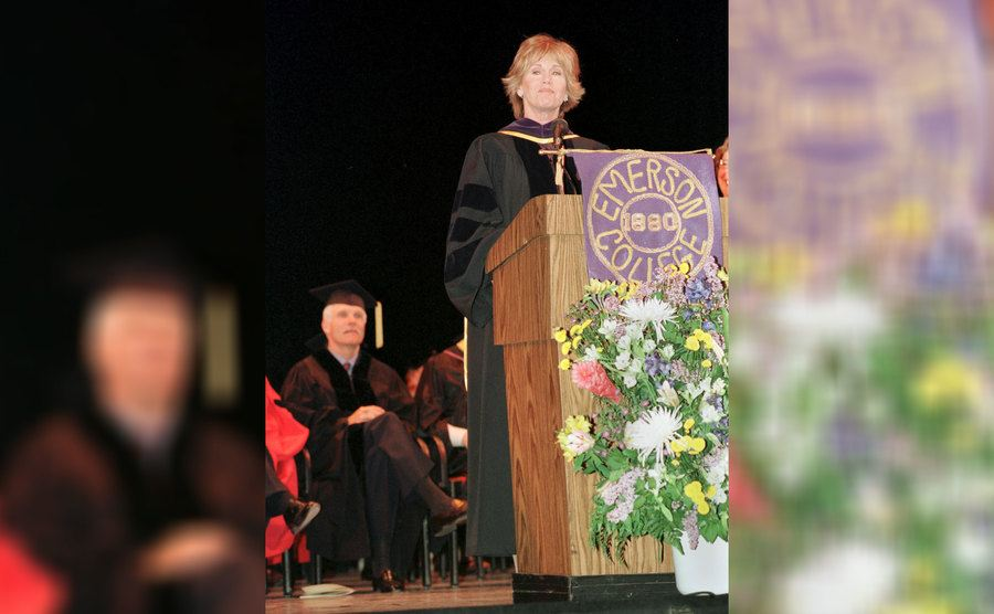 Jane Fonda was receiving an honorary degree from Emerson College in 2000.