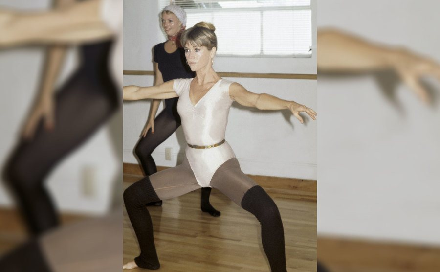 Jane Fonda at her workout club in LA working out