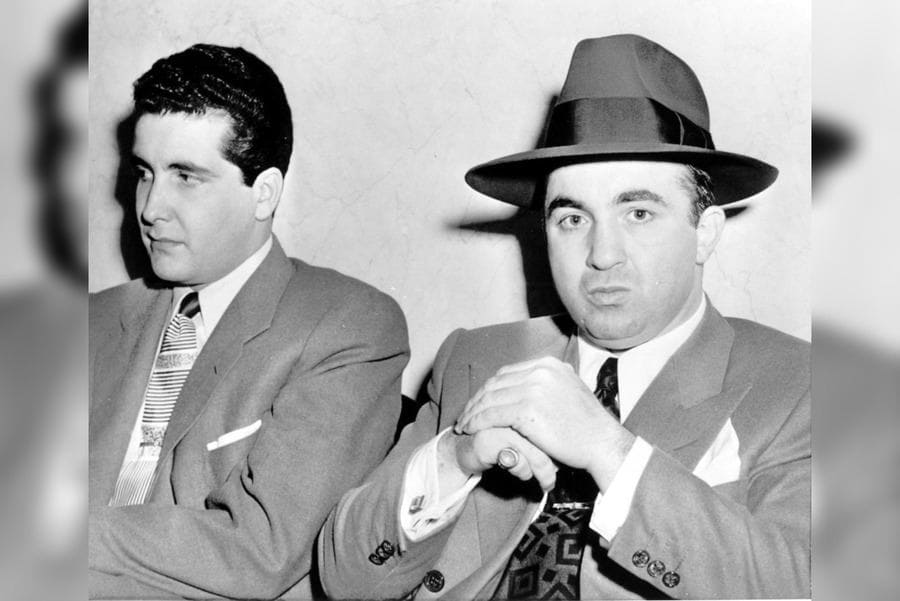 Mickey Cohen-(R) Seated Next to Johnny Stompanato (L) During a 1950 Trial at Which Both Testified.