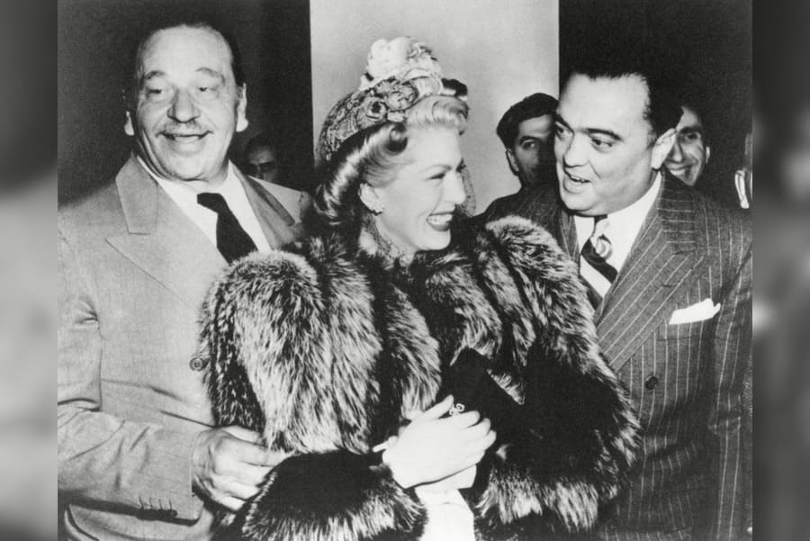 FBI Director J. Edgar Hoover With Wallace Berry and Lana Turner. at the Mayflower Hotel in Washington,