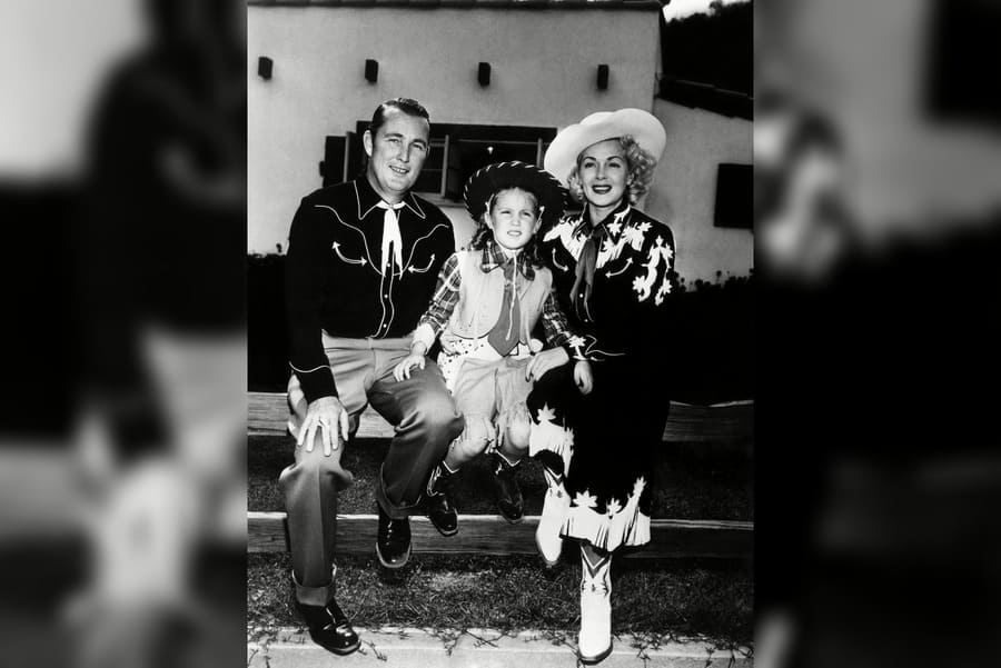 Actress Lana Turner (Far Right), With Her Husband, Bill Topping (Far Left), and Daughter Cheryl (Center), 1949.