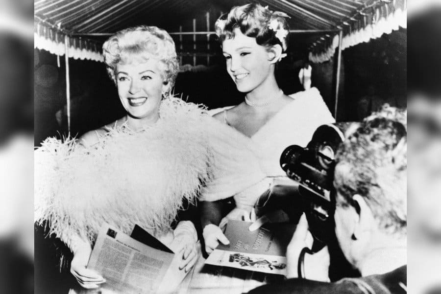 Lana Turner (1921-1995). American Actress. With Her Daughter Cheryl Crane (Right), At A Hollywood Film Premiere.