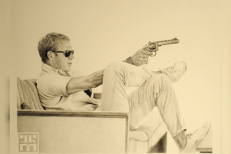 Steve McQueen biro artwork by James Mylne