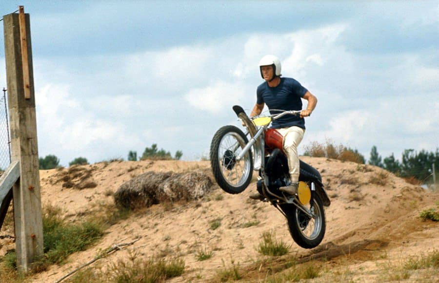 Steve Mcqueen on a Motorcycle