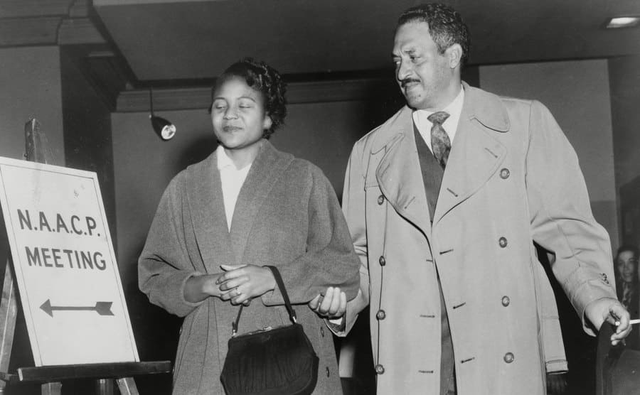 Thurgood Marshall with Rosa Parks at the NAACP meeting in the 1950s.