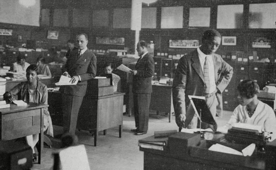 The offices of NAACP in New York with people standing around