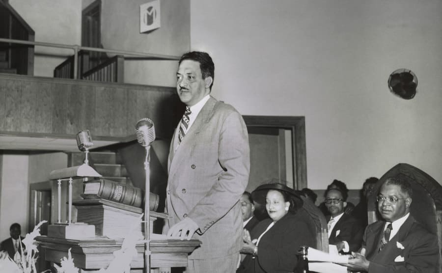 Thurgood Marshall speaking at an NAACP conference in Dallas, Texas in 1950
