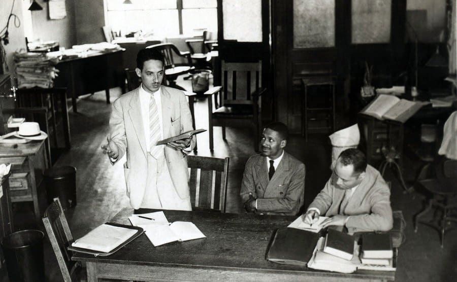 Thurgood Marshall and client Donald Gaines Murray with Charles Houston sitting on the other side of him.