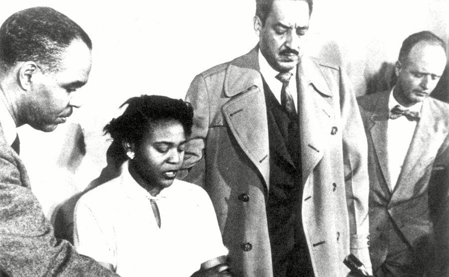 Juanita Lucy, with Thurgood Marshall and Roy Wilkins, Alabama, 1956.
