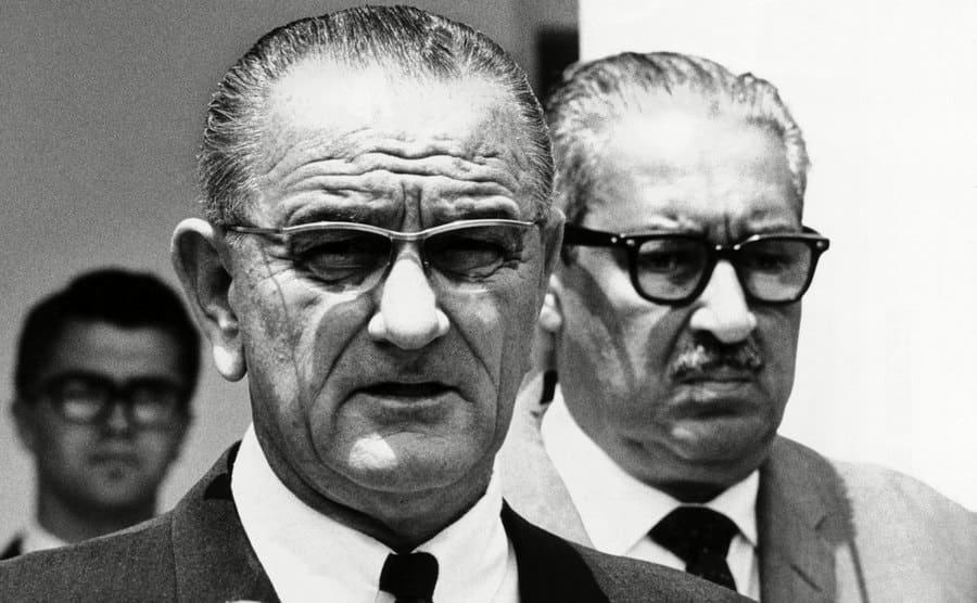 President Lyndon Johnson with Supreme Court nominee, Thurgood Marshall, on June 13, 1967.