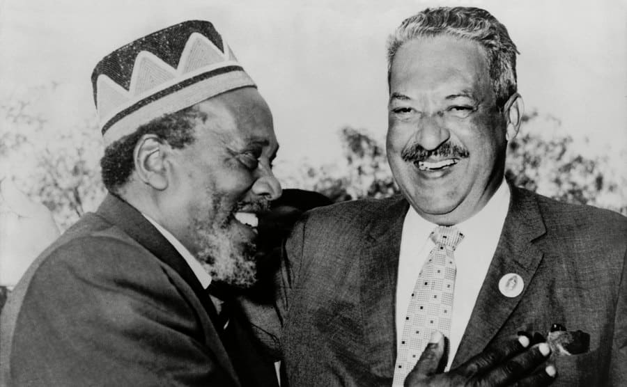 Kenya Premier Jomo Kenyatta with US Federal Judge Thurgood Marshall in 1963.