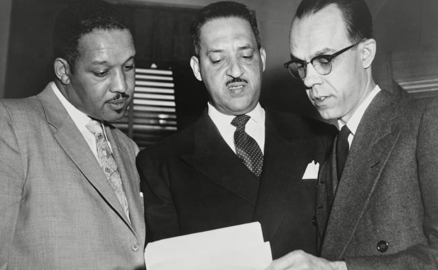 Harold Boulware, Thurgood Marshall, and Spottswood Robinson, the lead lawyers in Brown v. Board of Educators in December 1953.