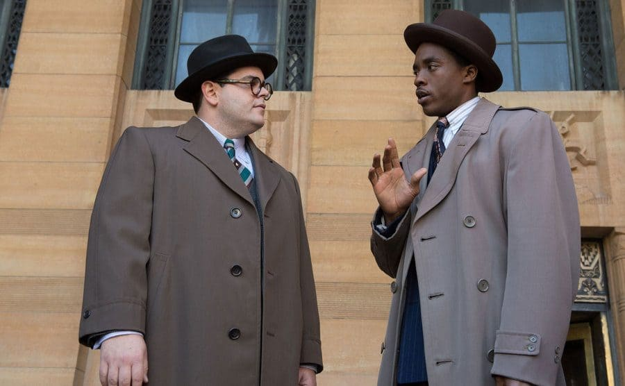 Josh Gad and Chadwick Boseman in 'Marshall' 2017.
