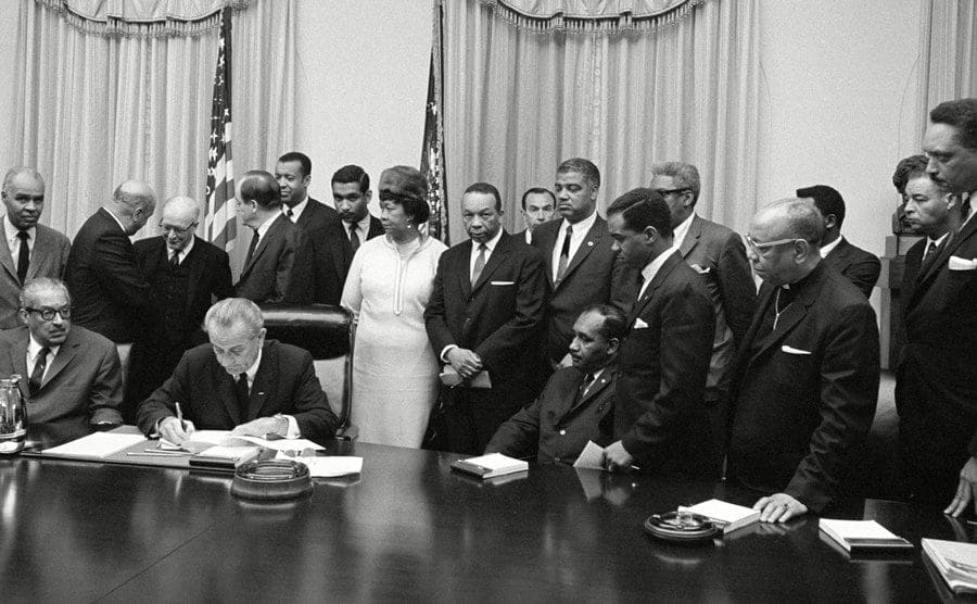President Lyndon Johnson, seated next to Thurgood Marshall, met with Civil Rights leaders before the National Cathedral memorial service for Martin Luther King on April 5, 1968.