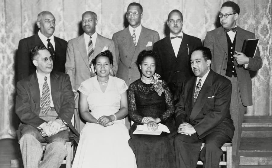 African American poets at Jackson State College festival in 1945, including Sterling Allen Brown, Margaret Walker, Langston Hughes, Arna Wendell Bontemps, Melvin B. Tolson, Jacob L Reddix, Queen Dodson, and Robert C. Hayden.