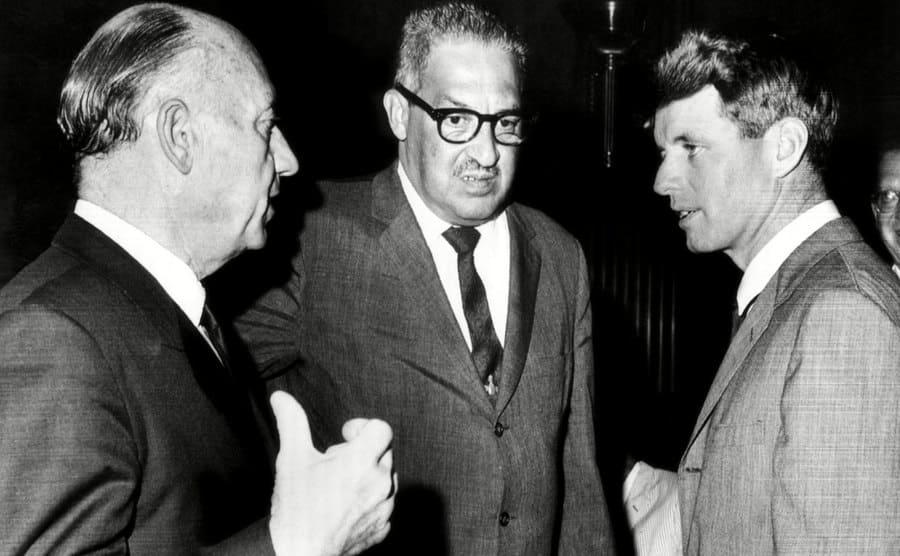 Jacob Javits, Thurgood Marshall, and Robert F Kennedy on July 29, 1965.