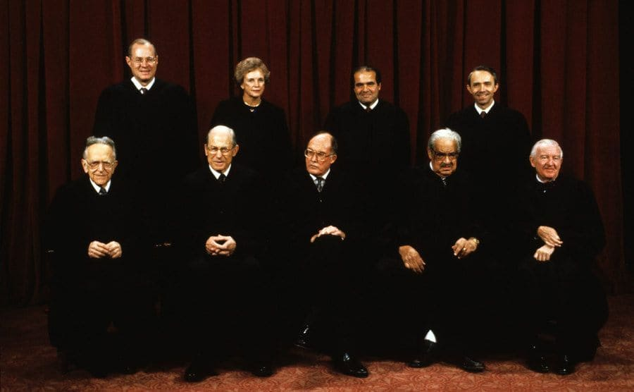 Associate Justice Thurgood Marshall sitting with the fellow members of the Supreme Court on September 11, 1990.