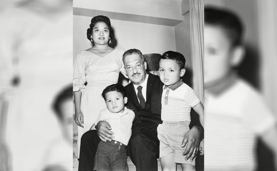 Thurgood Marshall and his wife, Cecilia, with their two children, Thurgood Jr and John in 1961.