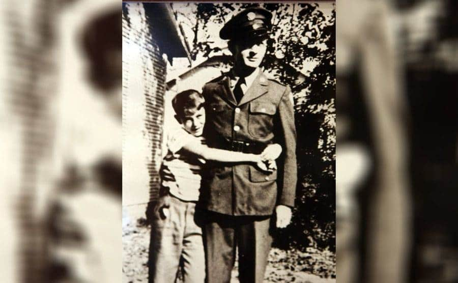 James Dean with his father in an army uniform