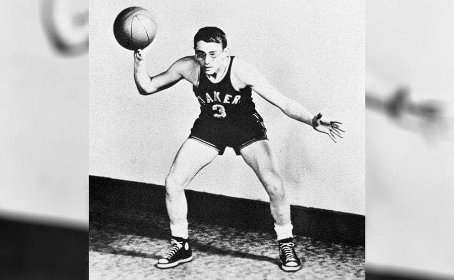 James Dean playing basketball in high school