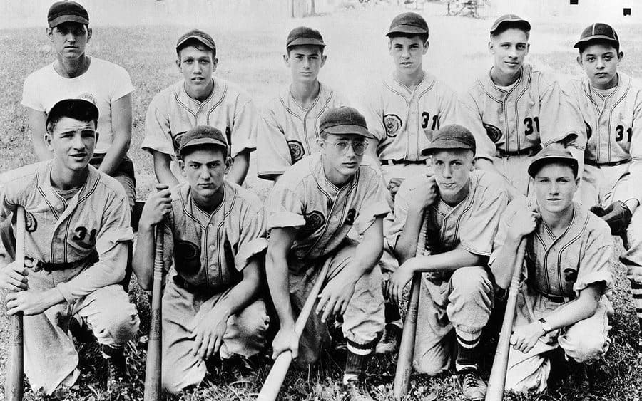 James Dean and his baseball team in high school