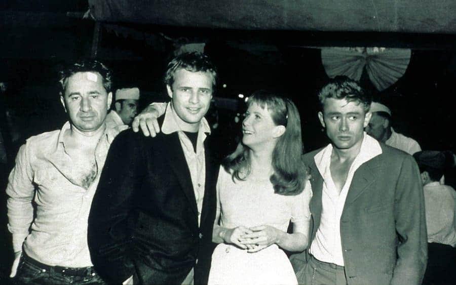 Elia Kazan, Marlon Brando, Julie Harris, and James Dean.