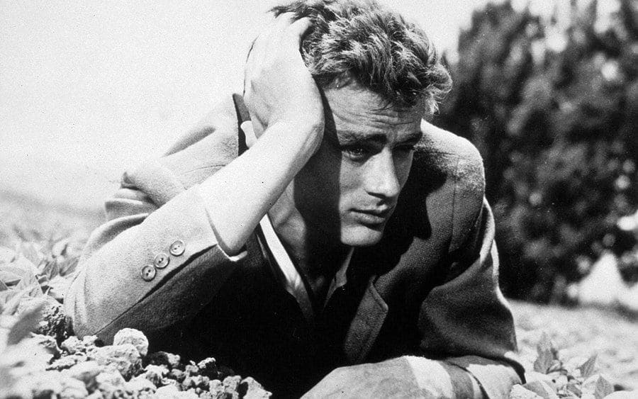 James Dean leaning on his hand in a field