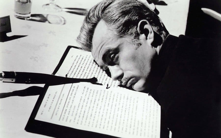 James Dean resting his head in the film 'Giant.'